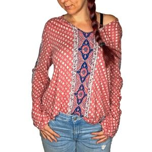 Lucky Brand Ethnic Printed Peasant Blouse Top